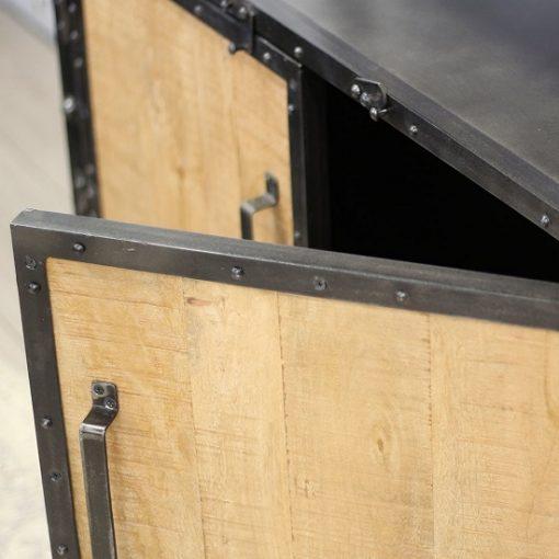 Industriële kast mangohout deuren