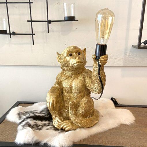 Lamp aap goud- zwart zittend