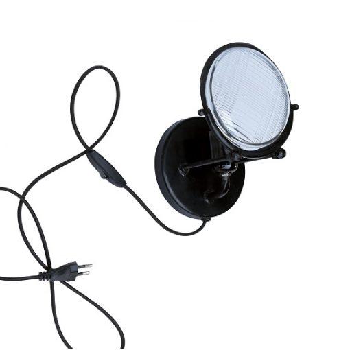 Wandlamp zwart industrieel glas metaal