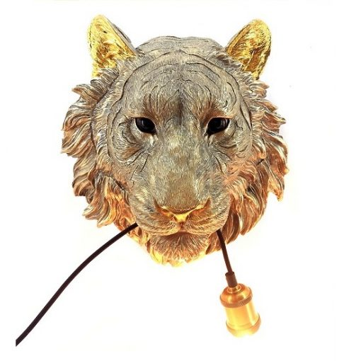 Dierenkop wandlamp tijger goud