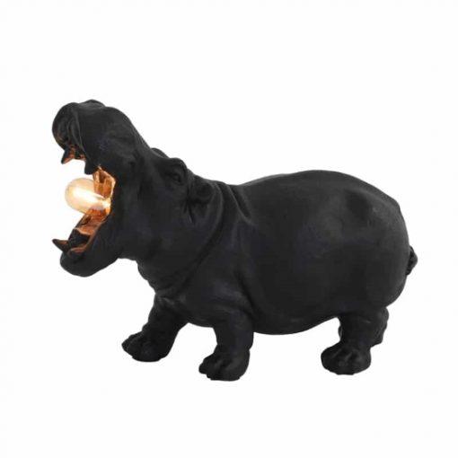 Dierenlamp nijlpaard zwart mat