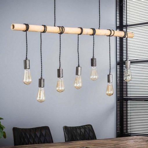 Hanglamp bamboo industrieel design 7 L