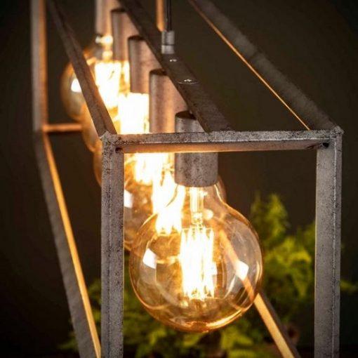 Hanglamp grijs metalen buis vierkant