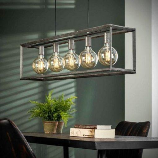 Hanglamp grijs metalen buis woonkamer