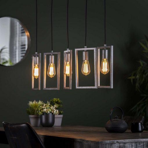 Hanglamp vijf lampen metaal grijs