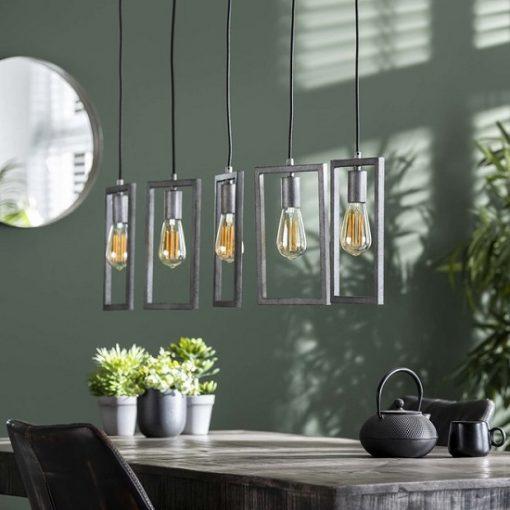 Hanglamp vijf lampen metaal stoer