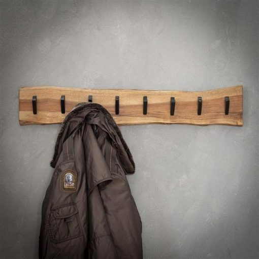 Kapstok acht haken hout metaal