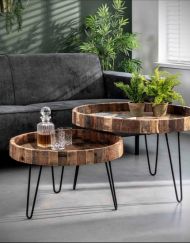 Salontafel set gerecycled hout rond