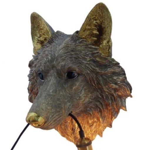 Wandlamp dierenkop wolf