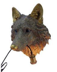 Wandlamp dierenkop wolf goud