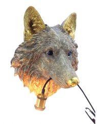 Wandlamp dierenkop wolf gouden
