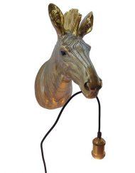 Wandlamp dierenkop zebra goud
