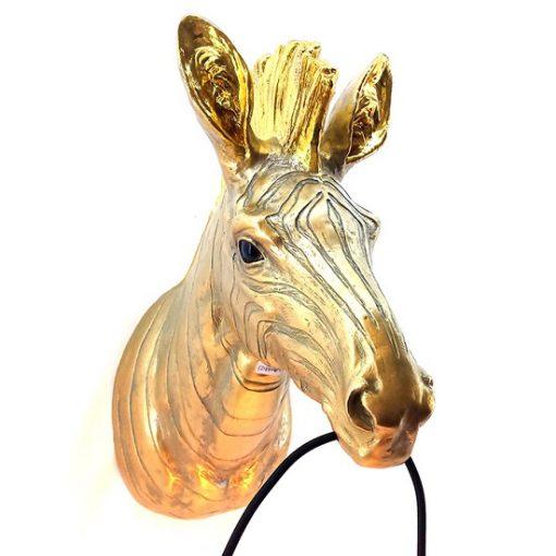 Wandlamp dierenkop zebra gouden