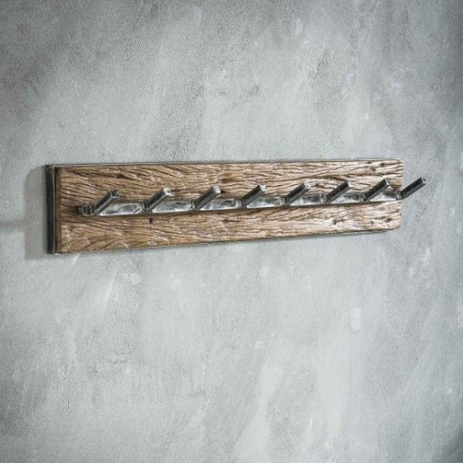 Kapstok acht ijzeren haken hout