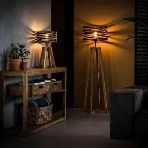 Stijlvolle vloerlamp vintage houten poot