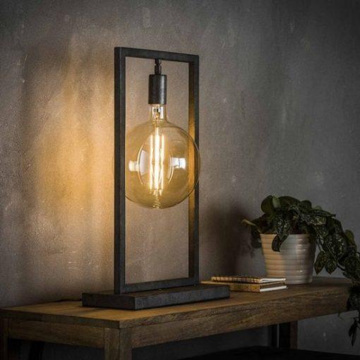 Tafellamp rechthoekig metaal industrieel glazenbol