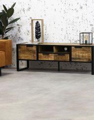Tv meubel industriële look opbergruimte