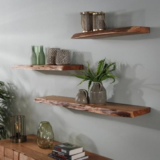 Wandplank acaciahout zwevend stoer