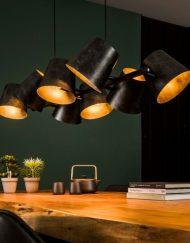 Hanglamp acht kappen verstelbaar industrieel