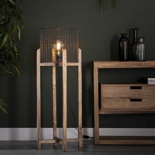 Vloerlamp hout metalen kap industrieel