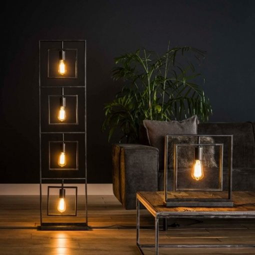 Vloerlamp vierkant vier vintage lampen