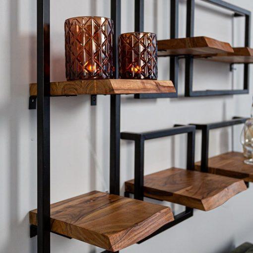 Wandplank set van 5 industrieel houtplank