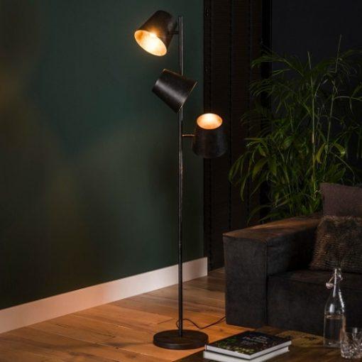 industriële vloerlamp drie kappen stoer