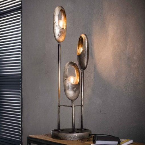 Tafellamp metaal drie kappen