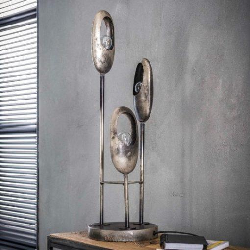 Tafellamp metaal drie vintage kappen
