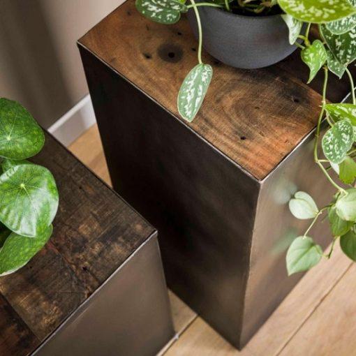 Plantentafel stoer hout industrieel