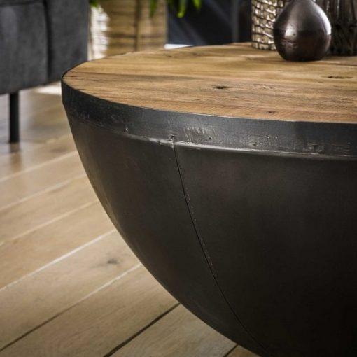 Salontafel hout metaal wonen