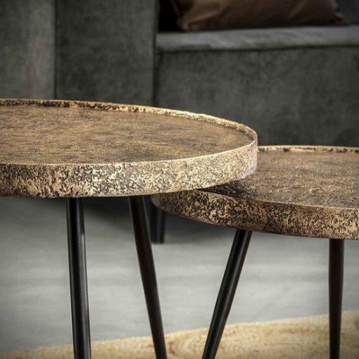 Salontafel rond metallic brons vintage