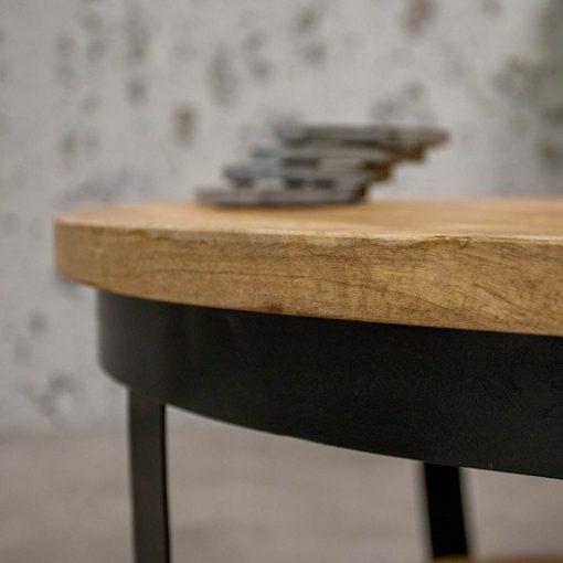 Stoere industriele salontafel rond 90 cm