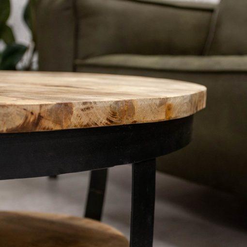 Stoere industriele salontafel rond hout