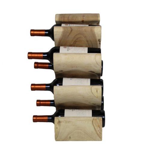Wijnrek hout 6 flessen staande