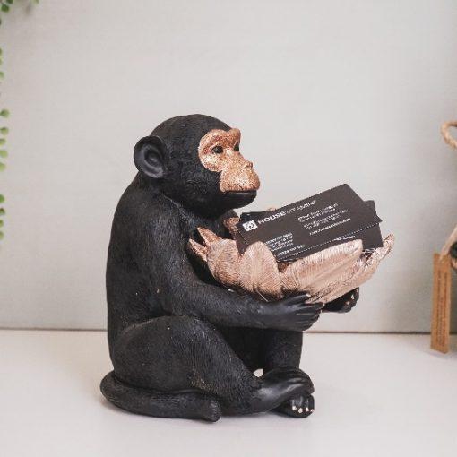Beeld aap zwart en goud mooi