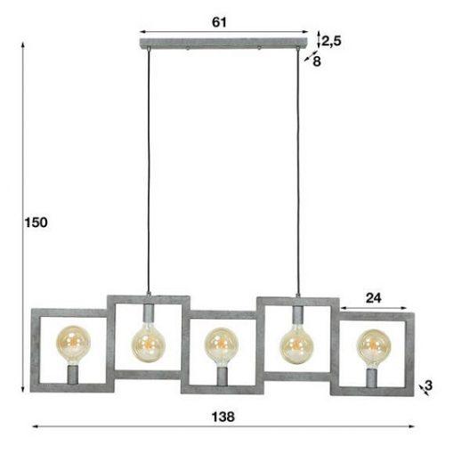 Hanglamp triptrap metaal vierkant