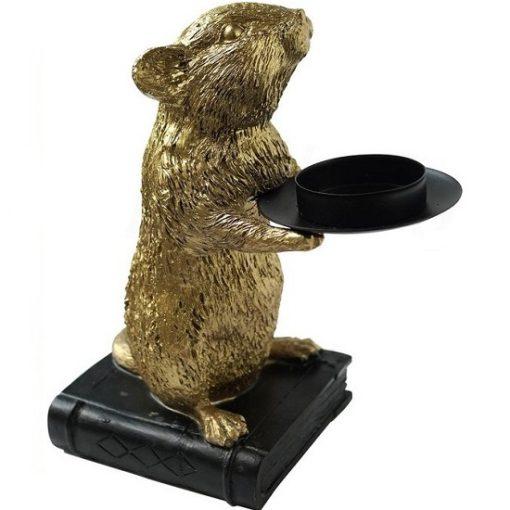 Muis kandelaar goud