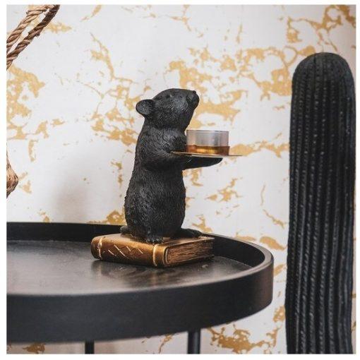 Muis kandelaar goud zwart stoer