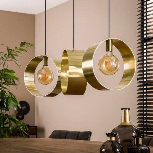 Hanglamp drie gouden ringen metaal