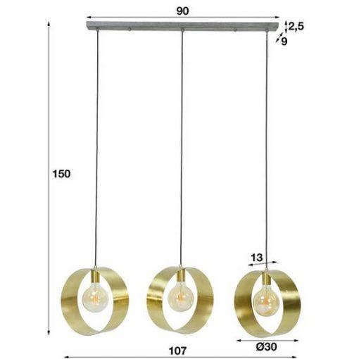 Hanglamp drie industriële ringen