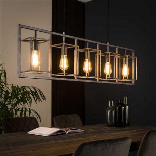 Hanglamp vintage metaal vijf lichtbronnen