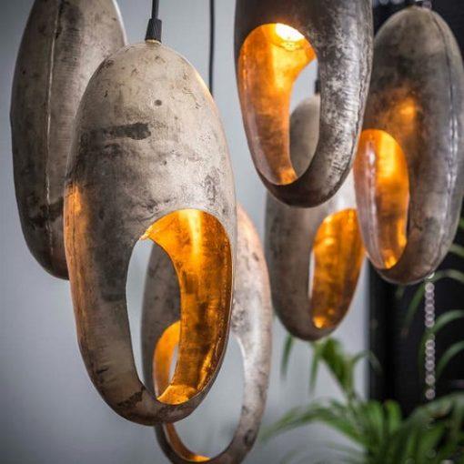 Hanglamp zeven industrieel ovalen ringen