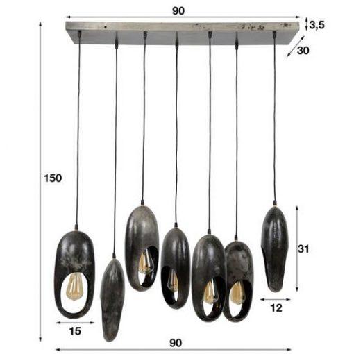 Hanglamp zeven vintage ringen