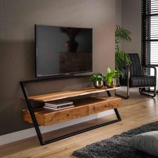 TV meubel twee laden hout metaal