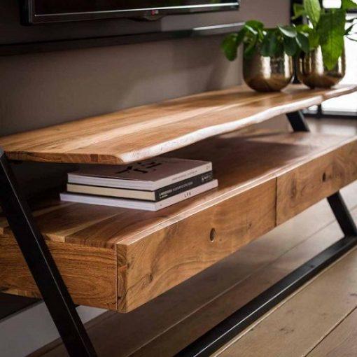 TV meubel twee laden hout metaal interieur