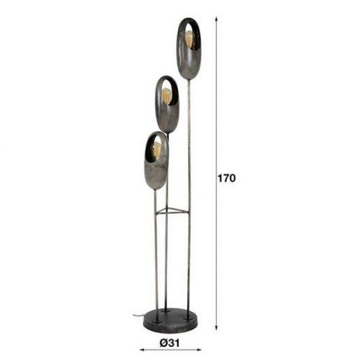 Vloerlamp drie metalen kappen sfeervol