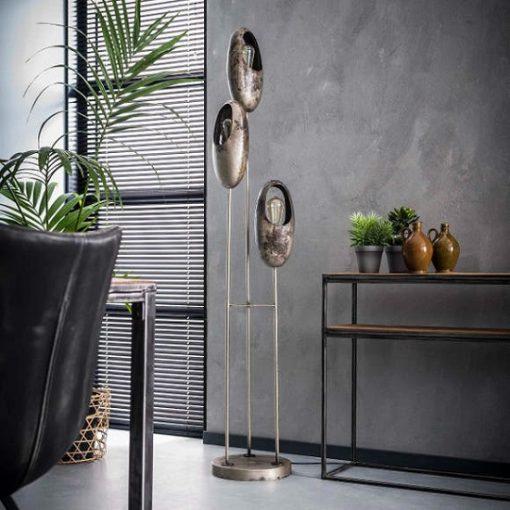 Vloerlamp drie metalen kappen vintage