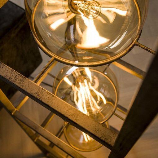 Vloerlamp industrieel metaal glas