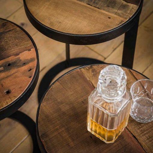 Bijzettafels hout metaal design